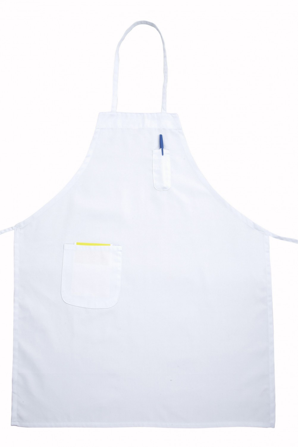 Winco BA-PWH White Full-Length Bib Apron with Pocket