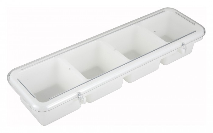 Winco BC-4P 4 Compartment White Bar Caddy