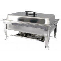 Winco C-1080 Bellaire Stainless Steel Full-Size Chafer, Folding Frame, 8 Qt.