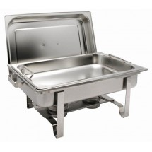 Winco C-2080B Get A Grip Full-Size Stainless Steel Chafer with Food Pan Handles 8 Qt.