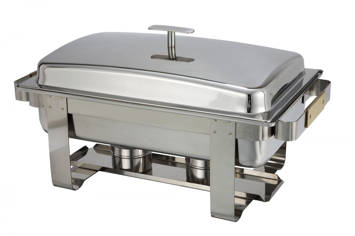 Winco C-5080 Dallas Full Size Stainless Steel Roll-Top Chafer with Gold Accents 8 Qt.