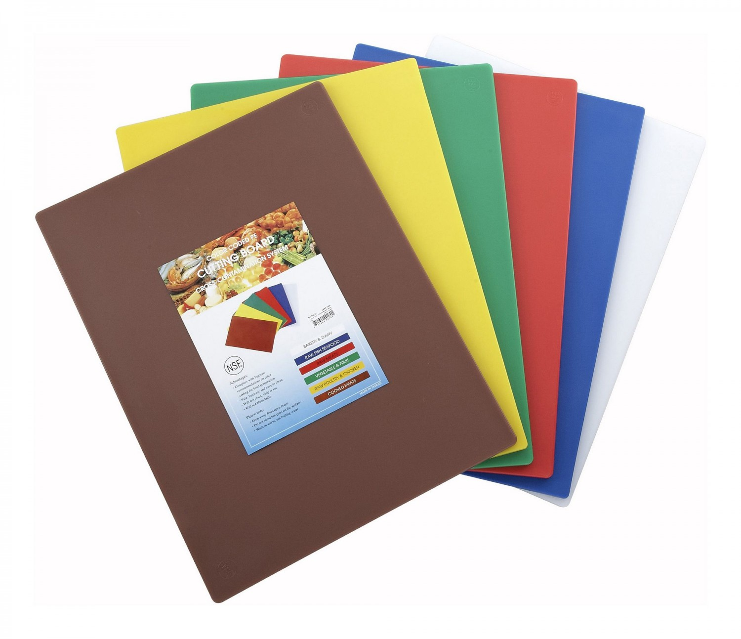 Winco CBST-1824 Plastic Cutting Boards, Set of 6 Colors 18& x 24&