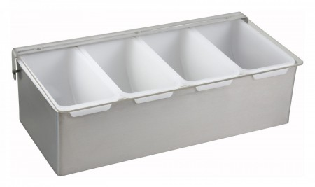 Winco CDP-4 4 Compartment Stainless Steel Condiment Dispenser
