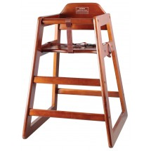 Winco CHH-104 Unassembled Stacking Wood High-Chair with Walnut Finish