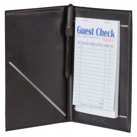 "Winco CHK-2K Guest Check Holder with Elastic Pen Loop 5-1/4"" x 8-1/2"""