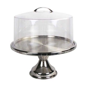 Winco CKS-13CS Round Stainless Steel Cake Stand and Lid 13""