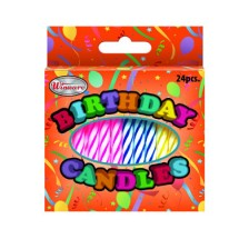 Winco CLB-24 Birthday Candles, Assorted Fancy Colors - 24 pcs