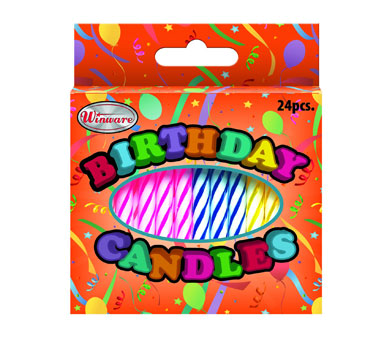 Winco CLB-24 Birthday Candles, Assorted Fancy Colors  - 24 per Box