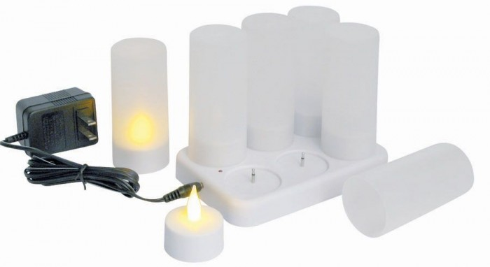 Winco CLR-6S Flameless Tealight Candle Set with Cup and Battery
