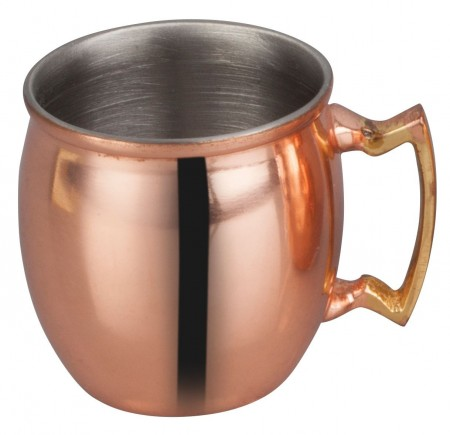 Winco CMM-2 Mini Moscow Mule Mug with Smooth Copper Finish, Brass Handle 2 oz.