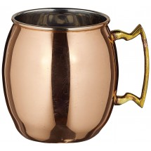 Winco CMM-20 Solid Copper-Plated Moscow Mule Mug with Brass Handle 20 oz.