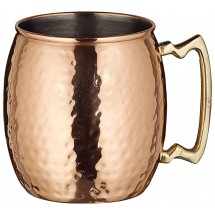 Winco CMM-20H Hammered Copper-Plated Moscow Mule Mug with Brass Handle 20 oz.