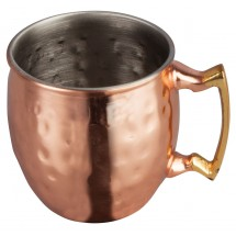 Winco CMM-2H Mini Moscow Mule Mug with Hammered Copper Finish, Brass Handle 2 oz.