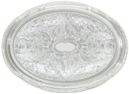 """Winco CMT-1014 Oval Chrome-Plated Serving Tray 14-3/4"""" x 10-1/2"""""""
