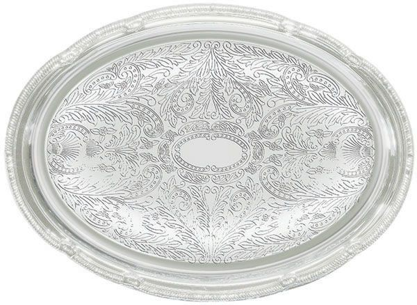 "Winco CMT-1014 Oval Chrome-Plated Serving Tray 14-3/4"" x 10-1/2"""