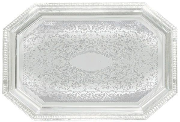 """Winco CMT-1217 Octagonal Chrome-Plated Serving Tray 17"""" x 12-1/2"""""""