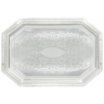 "Winco CMT-1217 Octagonal Chrome-Plated Serving Tray 17"" x 12-1/2"""