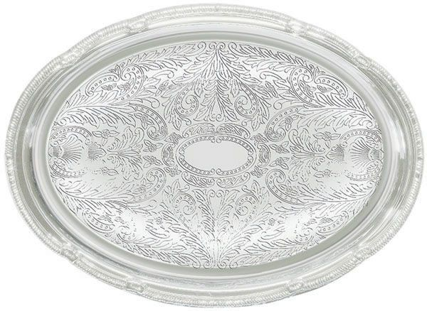 """Winco CMT-1318 Oval Chrome-Plated Serving Tray 18-3/4"""" x 13"""""""