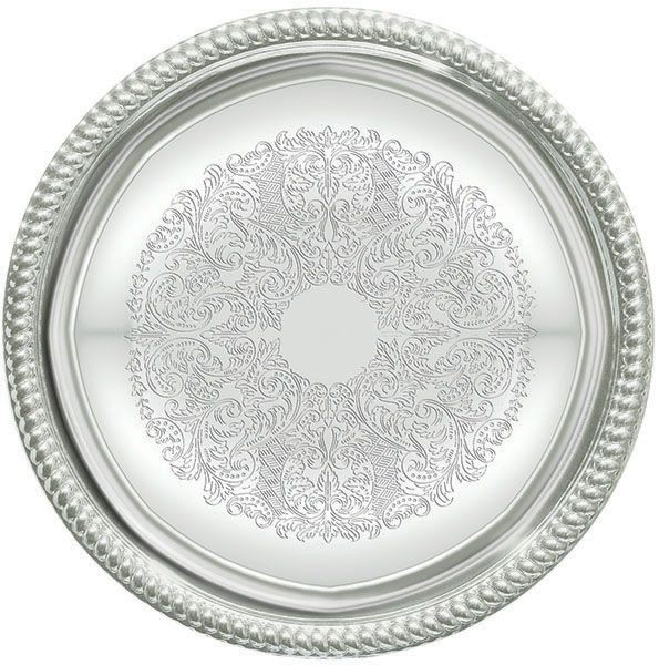 """Winco CMT-14 Round Chrome Plated Serving Tray 14"""""""