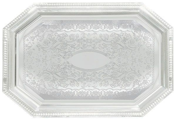 """Winco CMT-1420 Octagonal Chrome-Plated Serving Tray 20"""" x 14-1/2&quot"""