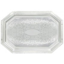 "Winco CMT-1420 Octagonal Chrome-Plated Serving Tray 20"" x 14-1/2&quot"