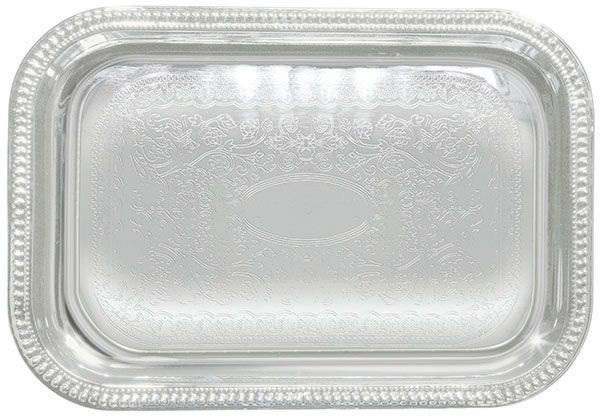 "Winco CMT-1812 Rectangular Chrome Plated Serving Tray 18"" x 12-1/2"""