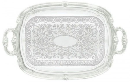 "Winco CMT-1912 Oblong Chrome-Plated Serving Tray with Integrated Handle 19-1/2"" x 12-1/2"""