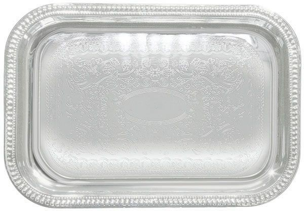 Winco CMT-2014 Rectangular Chrome-Plated Serving Tray 20& x 14&