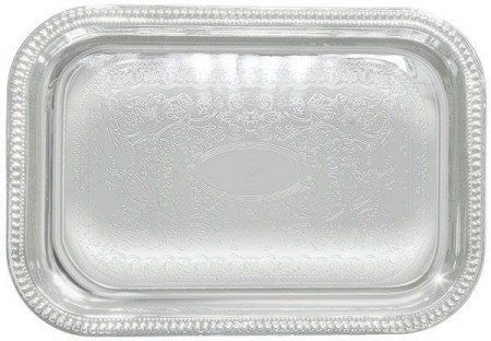 """Winco CMT-2014 Rectangular Chrome-Plated Serving Tray 20"""" x 14"""""""