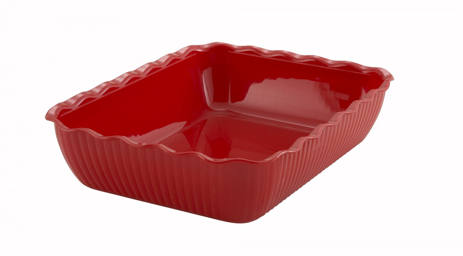"Winco CRK-13R Red Food Storage Container / Crock 13"" x 10"" x 3"""
