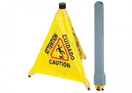 Winco CSF-SET Pop-up Safety Cone Caution Sign with Storage Tube