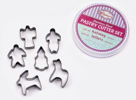 Winco CST-33 6-Piece Stainless Steel Holiday Cookie Cutter Set