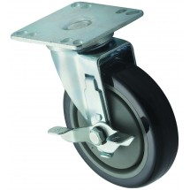 "Winco CT-33B Universal Caster Set, 5"" Wheel With 3-1/2"" x 3-1/2"" Plate and Brake"