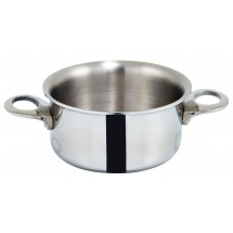 "Winco DCCR-3S Tri-Ply Stainless Steel Mini 3.75"" Casserole, 15 oz."
