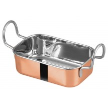 "Winco DDSB-204C Mini Copper Plated Roasting Pan 5-3/4"" x 3-3/4""W"
