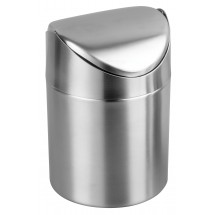 "Winco DDSF-101S Mini Stainless Steel Swing Waste Can 4-3/4"" Dia x 6"" H"