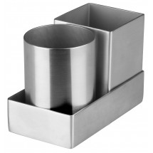 Winco DDSG-301S Stainless Steel Round & Square Sugar Packet Holder Set