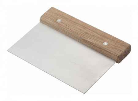 Winco DSC-3 Dough Scraper with Wooden Handle