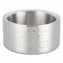 Winco DWCC-5H Hammered Stainless Steel Double Wall Wine Coaster 5""