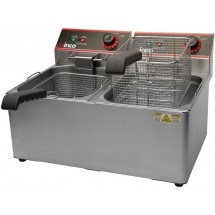 Winco EFT-32 Countertop Electric Twin Well Deep Fryer 32 Lb.