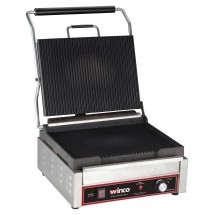 Winco EPG-1C Electric Countertop Single Ribbed Plate Panini Press 120V