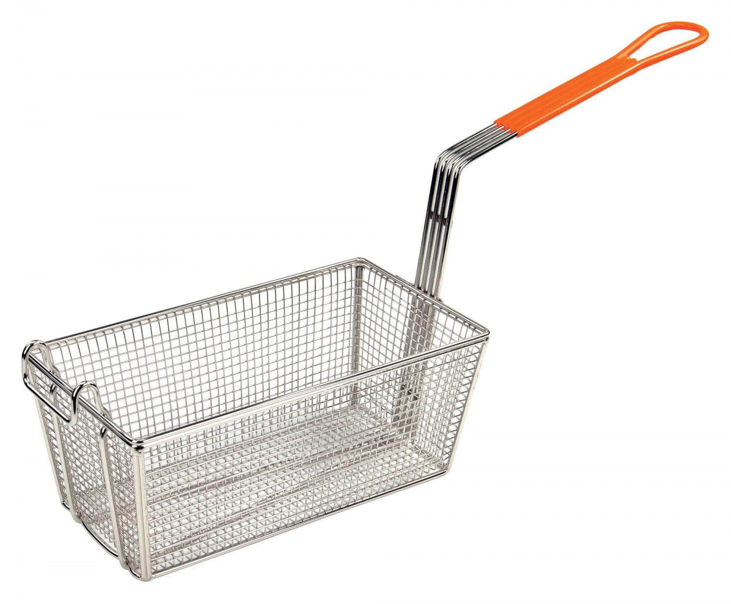Winco FB-10 Stainless Steel Fry Basket with Orange Handle