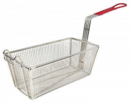 "Winco FB-25 Fry Basket with Red Handle 12-7/8"" x 6-1/2"" x 5-3/8"""