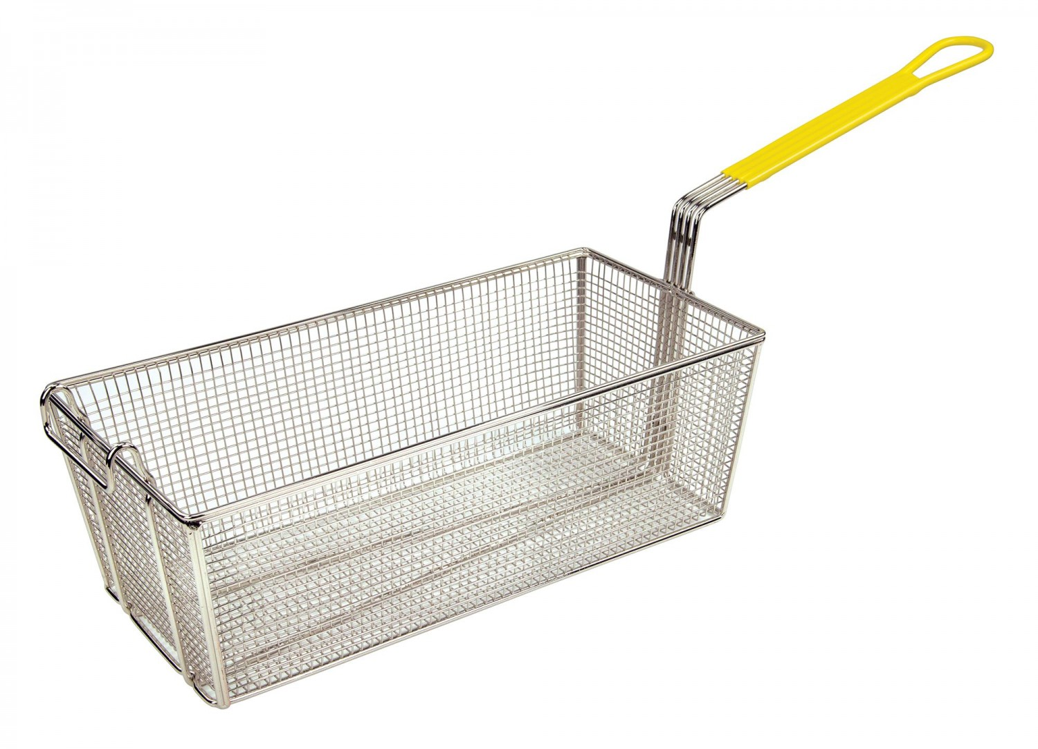 Winco FB-40 Stainless Steel Fry Basket with Yellow Handle