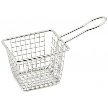"Winco FBM-433T Rectangular Stainless Steel Mini Deep Fry Basket 4"" x 3"" x 3"""