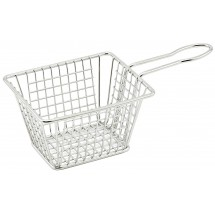 "Winco FBM-544T Rectangular Stainless Steel Mini Deep Fry Basket 5"" x 4"" x 4"""