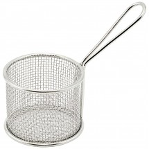 Winco FBM-32R Round Stainless Steel Mini Deep Fry Basket 3-3/4""