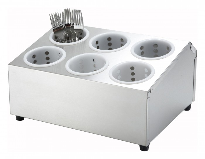 Winco FC-6H 2-Tier Flatware Cylinder Holder with 6 Holes
