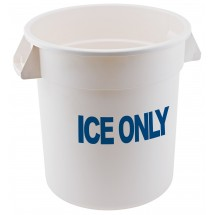 Winco FCW-10ICE White Polyethylene ICE ONLY Container, 10 Gallon