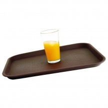 "Winco FTNS-1216B Brown Rectangular Non-Slip Tray 12"" x 16"""